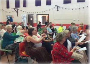 Voting using handsets at the East Sheppey PB event
